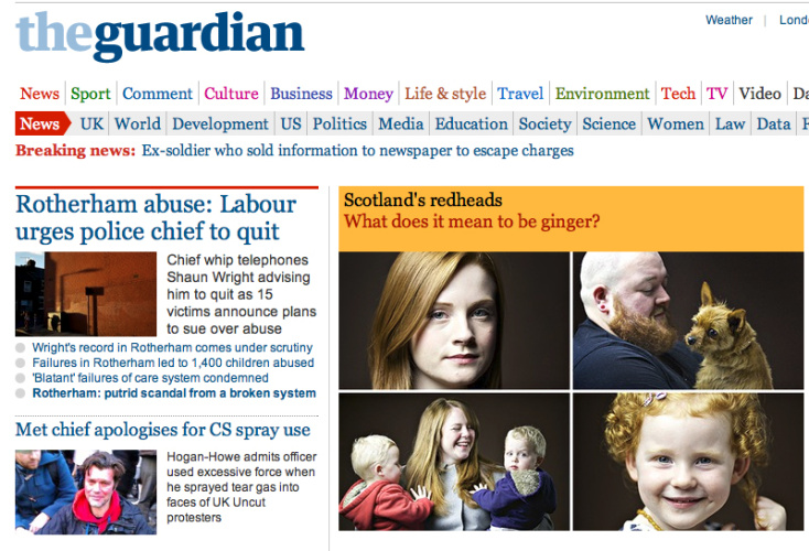 Things people said on the Guardian about Gingers, September 2014